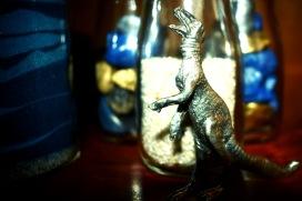 Dino in bookcase